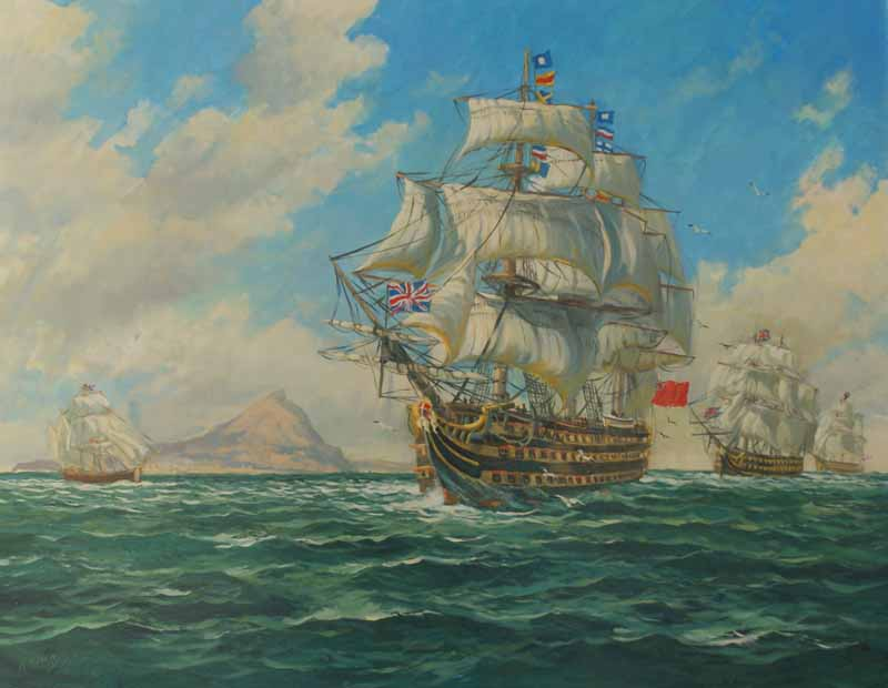 HMS Victory passing Gibraltar
